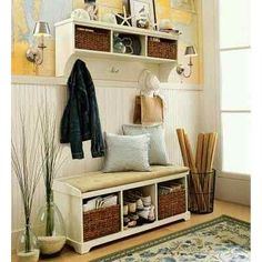 Functional Entry Bench With Storage : Entryway Benches With Storage Organizing Perfect Entryway Bench Storage, Entry Bench, Bench With Storage, Entryway Ideas, Shoe Storage, Mudroom Shelf, Small Mudroom Ideas, Storage Benches, Shoe Shelves