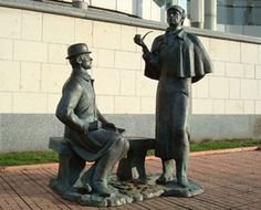 Monument to heroes of book by Arthur Conan Doyle Sherlock Holmes and doctor Watson near British Embassy in Moscow, Russia. It was built in 1997, sculptor Andrey Orlov.
