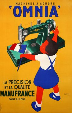Omnia French Sewing Machines vintage ad / poster Ansieau c1950 little girl sewing French flag……réepinglé par Maurie Daboux۰⋱‿✿╮