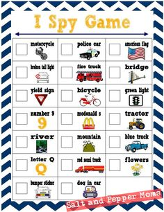 "Salt and Pepper Moms: Road Trip ""I Spy"" Printables for Kids -- good find Kids Travel Activities, Road Trip Activities, Road Trip Snacks, Road Trip Games, Road Trip With Kids, Family Road Trips, Travel With Kids, Family Vacations, Truck Lettering"