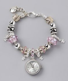 Isn't this adorable?!  Pink & Black Beaded Watch Bracelet by Figaro Couture on Zulily today!