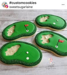 Use the one without the flag Golf Course Cookies Golf Cookies, Fancy Cookies, Iced Cookies, Cute Cookies, Cupcake Cookies, Cupcakes, Sugar Cookie Royal Icing, Cookie Frosting, Cookie Designs