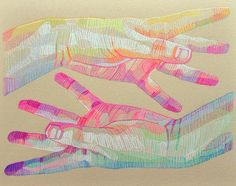 Artist Lui Ferreyra draws colorful portraits of hands and faces, works that use discrete shapes of color as highlights and shadows. These geometric fragments are blended by the viewer's eye rather than the artist's hand, producing color fields that Ferreyra intends to call attention to the connectio