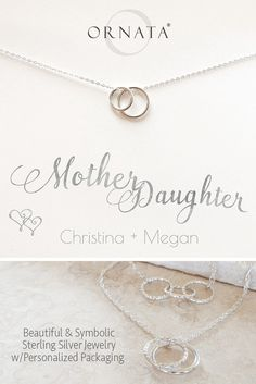 """""""Mother Daughter Necklace"""" Personalized Sterling Silver Necklace 