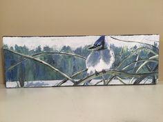 """Georgian Jay"" acrylic 4""x12"" by  Carla McGillivray - sold"
