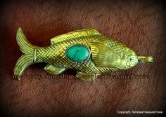 Buddhist Auspicious Golden Fish Repousse Brass and Tibetan Blue Green Turquoise Cabochon Hollow Focal Bead Sourced from Kathmandu, Nepal by TemplesTreasureTrove on Etsy