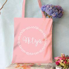 Printed Name Tote Bag (Name in Floral Circle)