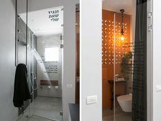 על דלתות הזכוכית של חדרי המקלחת והשירותים הצמודים הודפסו מילות שירו של אלון אולארצ'יק, ''בואי נגיד שאת שלי'' (צילום: שירן כרמל)