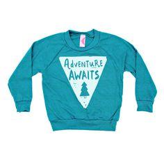 Adventure Awaits Raglan Pullover, Kids Clothing, Toddler Raglan, Adventure Kids Shirt, Printed Kids Tee, Hipster Kids Clothes, Screenprinted