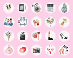 insta highlight story icons covers pets flowers watercolor highlights icon