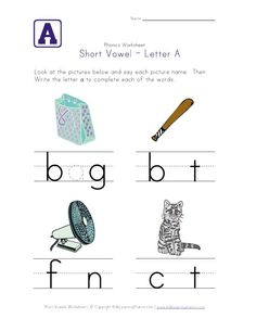 short vowel a worksheet- go to site and there are sheets for all vowels long and short sounds