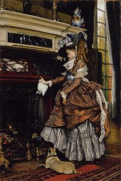 The Fireplace - James Jacques Joseph Tissot
