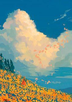 The Art Of Animation - Acrylic Painting Aesthetic Painting, Aesthetic Art, Aesthetic Drawing, Kunst Inspo, Art Inspo, Art And Illustration, Landscape Illustration, Art Illustrations, Anime Scenery