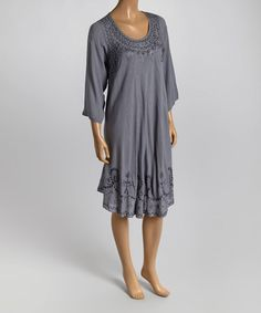 Look what I found on #zulily! Gray Embroidered Tunic Dress #zulilyfinds