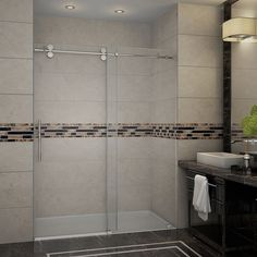 Aston Langham 48-in x 75-in Completely Frameless Alcove Sliding Shower Door in