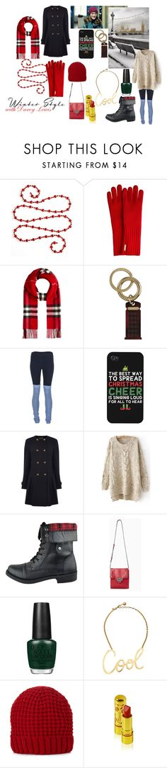 """""""Winter STyle with Darcy Lewis"""" by usedkarma ❤ liked on Polyvore featuring Kurt Adler, Burberry, Solow, LG, Warehouse, Nasty Gal, OPI, Lanvin, Accessorize and thor"""