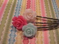 Floral Resin Rose Hair Pin Trio Set Pink Ivory Teal Free Shipping
