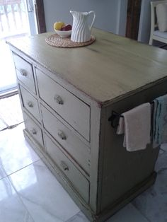 Very old dresser turned into a kitchen island! Old Dressers, Kitchen Island, Diy, Cottage, Table, Furniture, Home Decor, Bonheur, Home
