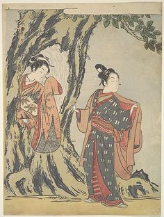 Two Young People  Suzuki Harunobu  (Japanese, 1725–1770)  Period: Edo period (1615–1868) Culture: Japan Medium: Polychrome woodblock print; ink and color on paper
