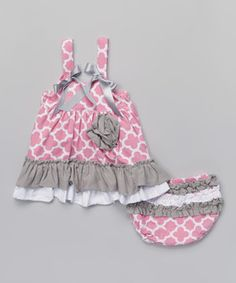 Pink & Gray Quatrefoil Swing Top & Diaper Cover - Infant by Tutus by Tutu AND Lulu #zulily #zulilyfinds