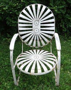 Sunburst/Pin Wheel Rare Iron Garden Chair Circa 1860