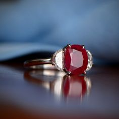 Ruby and Diamond Ring, adorned with handcrafted platinum. Available at Estate Diamond Jewelry.