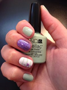 "(My nails) CND Shellac Mint Convertible + Lilac Longing heart + White + stripes + purple powder glitter. My version of ""Valentine's day nails"" and how spring needs to hurt up! Shellac nail art. Shellac nail design"