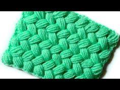 Плетеный узор из пышных столбиков - YouTube