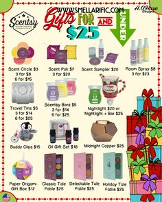 Scentsy gifts $25 & Under, just in time for the Holidays. Order today at www.smellarific.com. Flyer by: Angela O'Hare