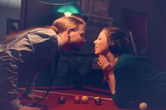 Such a cute billiard room shot! See more from this modern Nashville wedding engagement session at The Flying Saucer and Long Hunter State Park by @frozenexposure | The Pink Bride www.thepinkbride.com