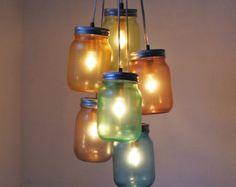 Cascada Splash tarro de masón lámpara lámpara espiral por BootsNGus