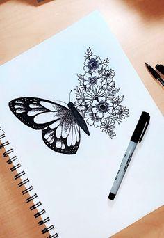 Stippling Drawings in Ink Art Drawings Sketches Simple, Pencil Art Drawings, Tattoo Sketches, Tattoo Drawings, Flower Drawings, Drawings For Girls, Drawings Of Butterflies, My Drawings, Some Easy Drawings