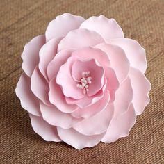 Large Pink Gumpaste Briar Rose sugarflower handmade cake topper perfect for cake decorating fondant cakes & wedding cakes.  Wholesale sugarflower. Caljava. FondX