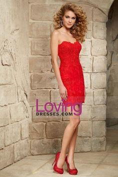2015 Homecoming Dresses Sweetheart Column Short/Mini Lace With Beading & Applique $149.99 LDPCLFJ5SX - LovingDresses.com