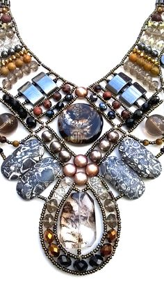 """Andromeda Savana Sunset"" statement necklace from Musesa Design Jewelry Collection.  www.musesa.com"
