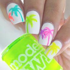 Easy Short Nail Designs for Kids Nailart New 40 Palm Tree Nail Art Ideas Nails A Neon Nails, Love Nails, Diy Nails, Color Nails, Manicure Ideas, Nail Manicure, Gel Nail, Tropical Nail Designs, Simple Nail Art Designs