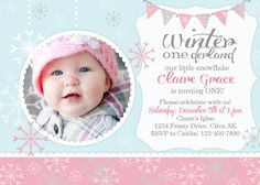 Winter OneDerland - Winter First Birthday invitation on Etsy, $12.00