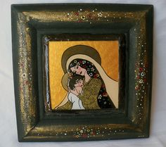 'MADONNA AND CHILD' inspired by Gustav Klimt- glass painting