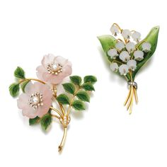 Pair of gem set and diamond brooches, circa 1960 | lot | Sotheby'sComprising: a brooch designed as a spray of wild roses, set with carved nephrite and rose quartz, each flower head set with a cultured pearl and brilliant-cut diamonds; and a brooch designed as a spray of lily of the valley, set with carved nephrite and rock crystal, the flower heads suspending brilliant-cut diamonds.