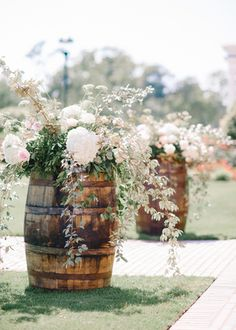 barrels for the ceremony // real wedding: peach bridesmaids & a country chic wedding // www.stylemybridal.com/blog