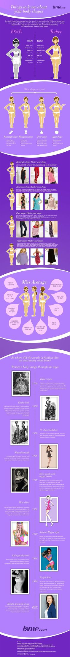 Body shape infographic, average womans shape and size