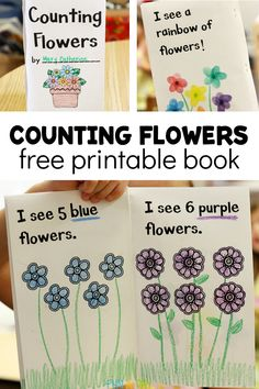Welcome spring and summer with this DIY printable flowers book! Explore numbers, counting, and colors with your preschooler together at home or school. Seeds Preschool, Preschool Boards, Preschool Lesson Plans, Free Preschool, Preschool Printables, Early Learning Activities, Preschool Activities, Spring Activities, Kindergarten Books