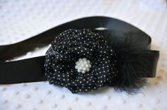 Black and White Polka Dot Chiffon Flower Sash by TheLavenderLounge, $22.00