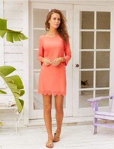 Coral Scallop Cabana Shift Dress, $88.00 Cabana Life 50+ UPV Sun Protective Clothing