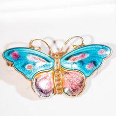 Norway silver enamel butterfly brooch; Vintage seventies Norwegian sterling gilt pin pink blue fashion jewellery