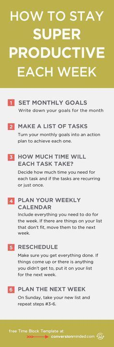 How to Stay Super Productive Each Week   Ready to turn your to-do list into an action plan? This guide for entrepreneurs and bloggers will help you prioritize goals and tasks so you know exactly what you need to do each day to reach your goals. It also includes my secret productivity weapon – the Time Block Template! Click through to see all the tips!
