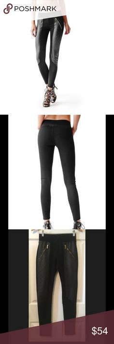 """Guess Black Quilted Zip Leggings. Faux leather black quilted ponte-knit leggings with gold-tone hardware. Contrast quilted faux leather panels on front, elasticize waistband, pull on styling. 9"""" Medium front rise; 13"""" back rise; 9"""" ultra-skinny leg opening; 29"""" inseam. Body: 90% Nylon, 10% Spandex. Contrast: 100% polyurethane. **** Small imperfection on quilted portion of right leg. Shown in 4th pic. Priced accordingly Guess Pants Leggings"""