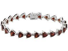 20.90ctw Trillion Vermelho Garnet Sterling Silver Bracelet