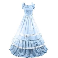 Partiss Women Bowknot Ruffles Square Collar Gothic Victorian Dress,XXL,Sky blue