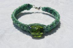 thick green hemp knotted bracelet by HempLady4u on Etsy, $8.00